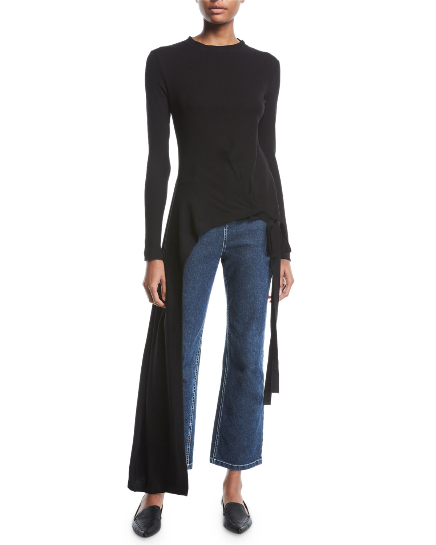 Crewneck Long-Sleeve Split-Apron Jersey Top in Black