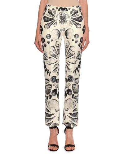 Cabinet of Shells Wool-Silk Cigarette Trouser Pants