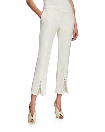 Lace-Trimmed Slit-Cuff Pants