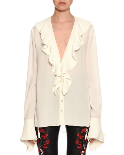 Ruffle-Trimmed Button-Front French-Cuff Silk Blouse