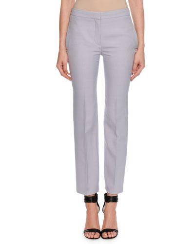 Wool-Silk Flat-Front Cigarette Pants