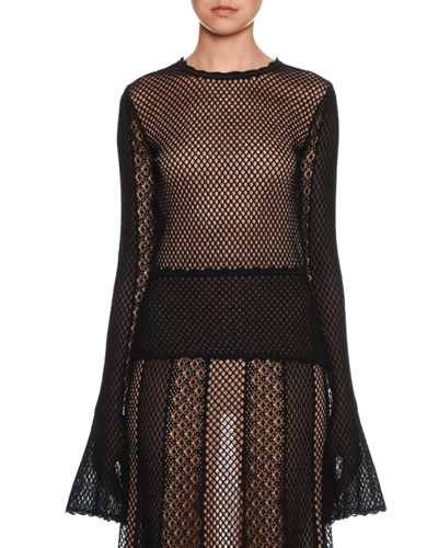 Sheer-Mesh Engineered-Patchwork Fluted-Sleeve Blouse