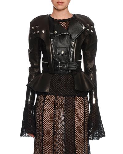 Peplum-Hem Leather Biker Jacket