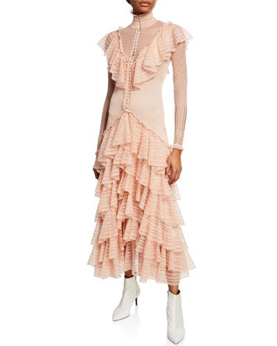 Tiered Lace Dress Neiman Marcus