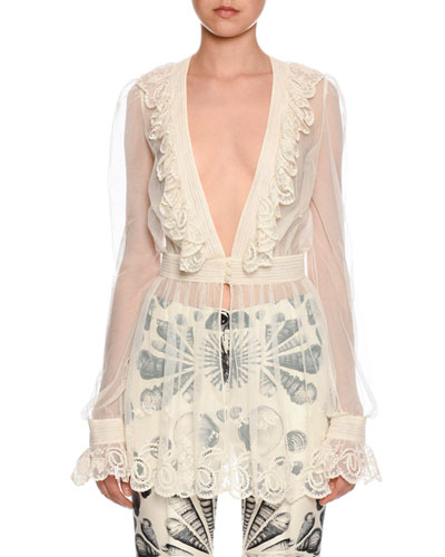 Long-Sleeve Embroidered Tulle Peplum Blouse