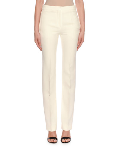 Mid-Rise Classic Straight-Leg Wool-Silk Trousers