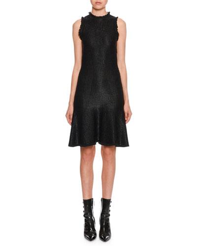 Sleeveless A-Line Shiny Floated Knit Knee-Length Dress