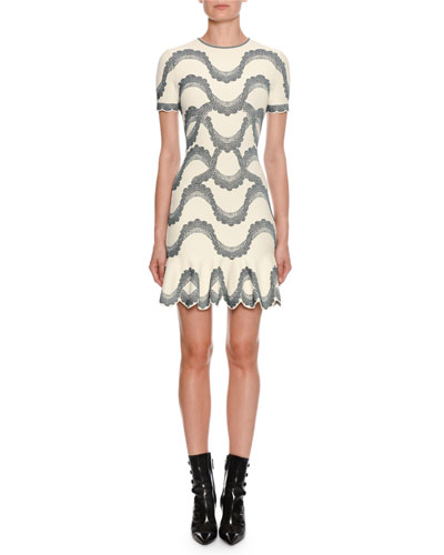 Short-Sleeve Jewel-Neck Victorian-Bead Jacquard Mini Dress