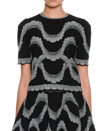 Short-Sleeve Crewneck Victorian-Beads Jacquard Top