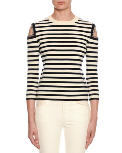 Striped-Knit Chain-Trim Cold-Shoulder Sweater