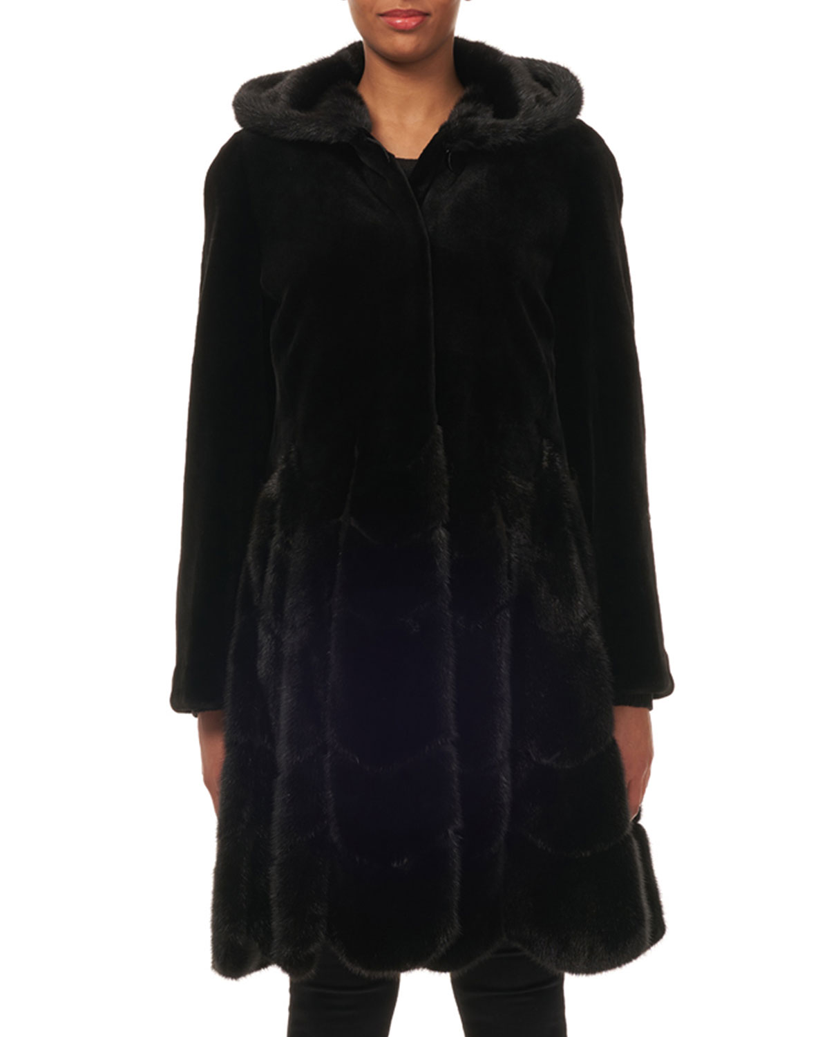 Hooded Reversible Sheared-Mink Taffeta Mid-Length Coat