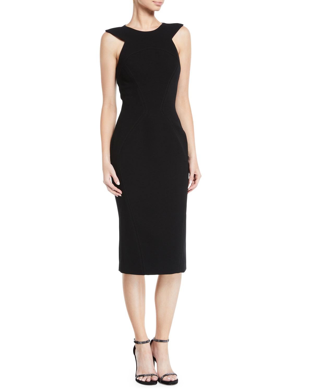 ZAC POSEN Triangle Shoulder-Cutouts Sheath Cocktail Dress in Black