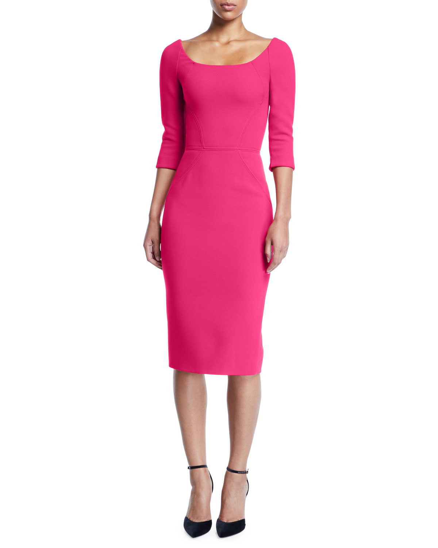 ZAC POSEN Bateau-Neck 3/4-Sleeve Body-Con Crepe Daytime Dress in Fuchsia