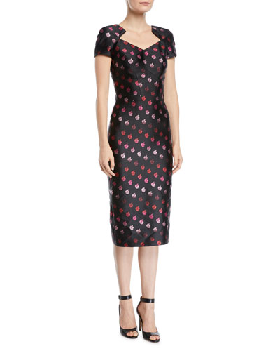 Cap-Sleeve Foiled-Rose Sheath Dress