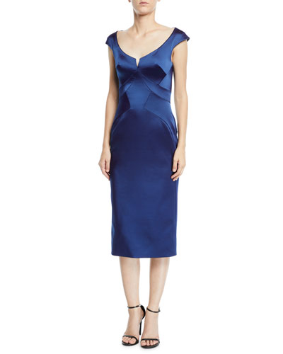 Scoop-Neck Cap-Sleeve Stretch-Faille Sheath Cocktail Dress