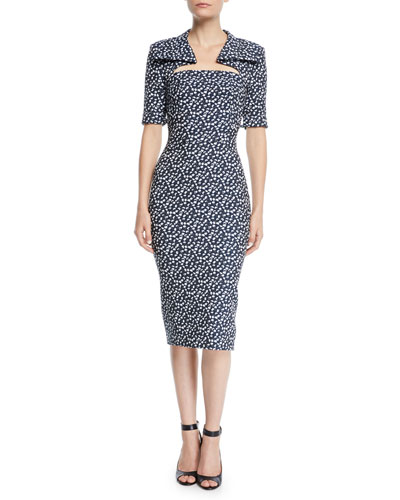 e7f5d62feca Quick Look. Zac Posen · Cutout-Neckline Elbow-Sleeve Floral-Print Midi Sheath  Dress