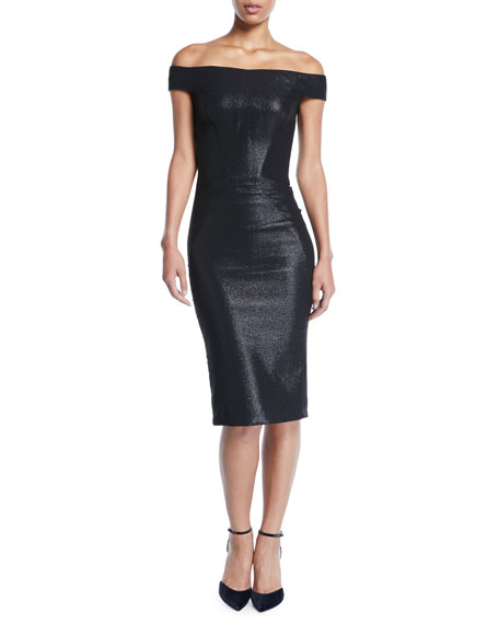Zac Posen Off-the-Shoulder Metallic-Jacquard Body-Con Midi Cocktail Dress