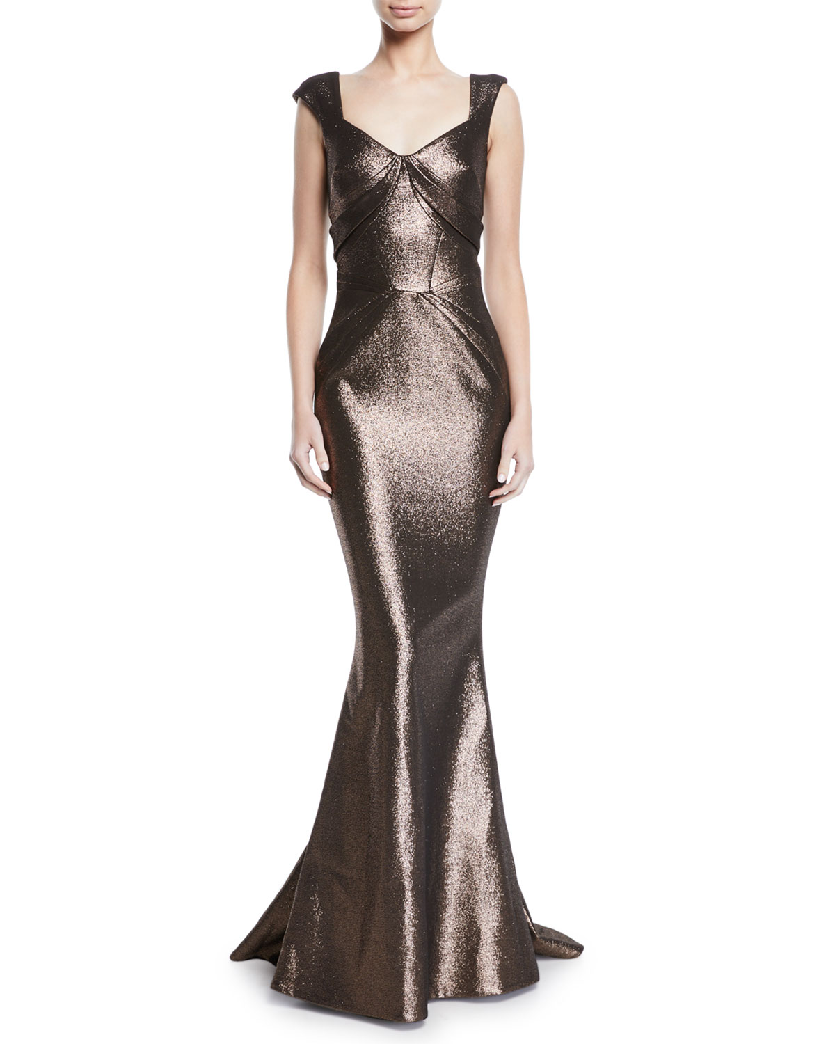 Sweetheart Cap-Sleeve Lame Mermaid Gown, Brown Metallic