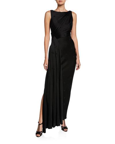 Side-Draped Silk Polka Dot Gown