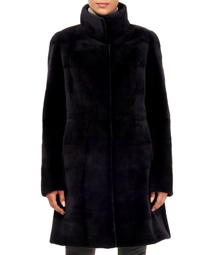 Sheared Mink Fur Stand-Collar Stroller Coat