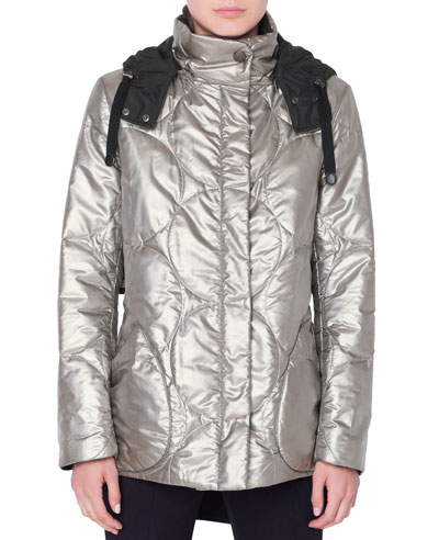Metallic Circle-Quilted Puffer Coat