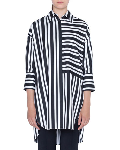 Asymmetric-Striped Kent-Collar Button-Front Tunic