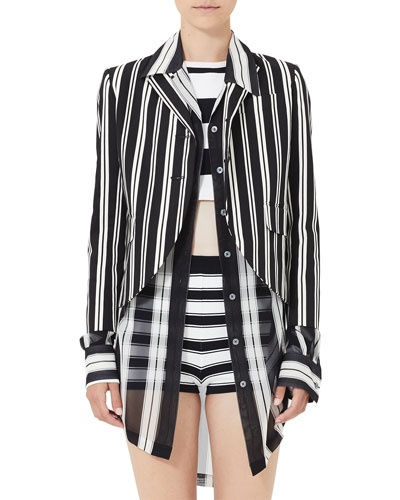 Striped 3/4-Sleeve Boyfriend Jacket