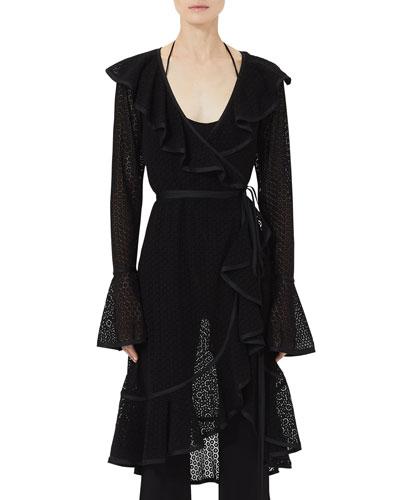 Spotted-Lace Ruffle Wrap Dress
