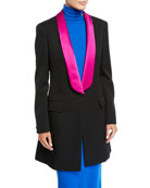 CALVIN KLEIN 205W39NYC Tux-Lapel One-Button Long Wool Gabardine