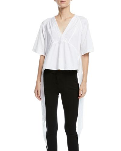V-Neck Short-Sleeve Draped-Sides Cotton Top