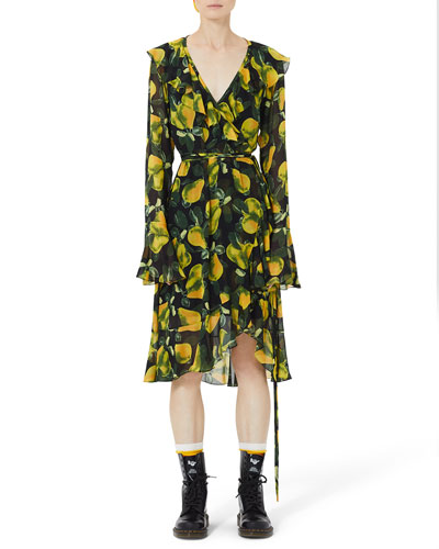 Bell-Sleeve Pear-Print Wrap Dress
