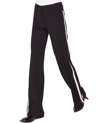 Mikka Wide-Leg Wool Tricot Pants W/Contrast Stripe