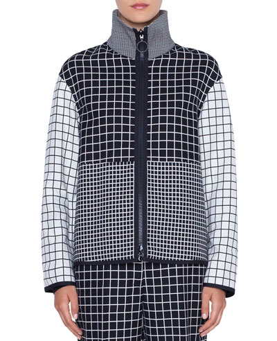 Mixed-Grid Stand-Collar Zip-Front Jacket