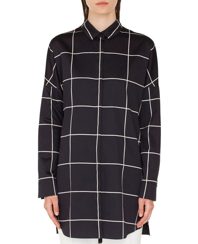 Checkered Button-Front Tunic