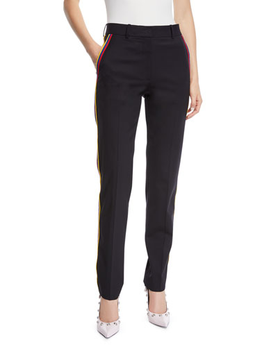 Band-Stripes Straight-Leg Cropped Stretch-Wool Pants