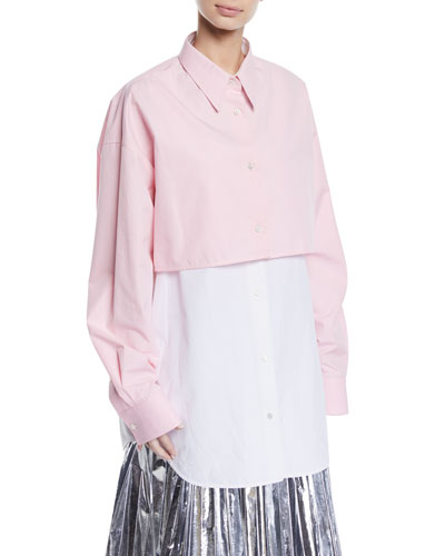 Two-Tone Overlay Long-Sleeve Button-Down Shirt