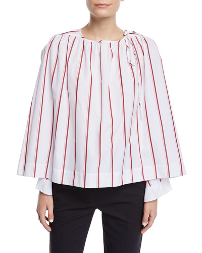 Bracelet-Sleeve Striped Cotton Blouse