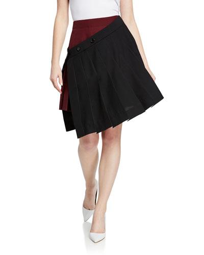 Pleated Asymmetric Wrapped Tennis Skirt