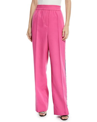 Elastic-Waist Wide-Leg Wool Track Pants w/ Side Stripe