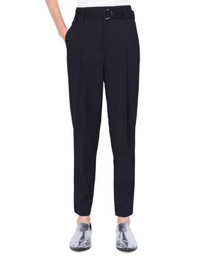 Fred Belted Cropped Wool Tricot Pants