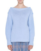 Akris punto Oversize Wool/Cashmere Sweater with Button Shoulder