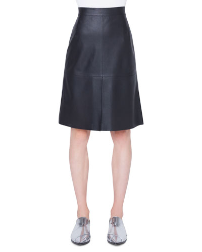 Knee-Length Perforated Leather Skirt