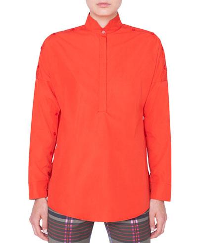 Button-Shoulder Kimono Blouse