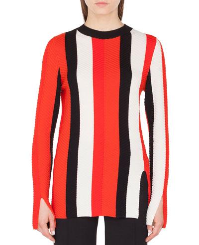 Herringbone Stripe Merino Pullover Sweater