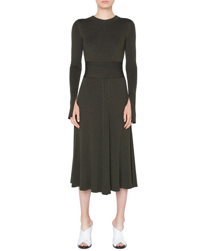 Long-Sleeve Ribbed Merino Midi Dress