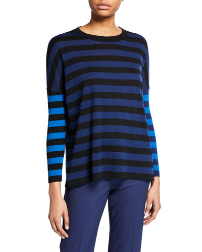Drop-Shoulder Stripe Merino Pullover Sweater