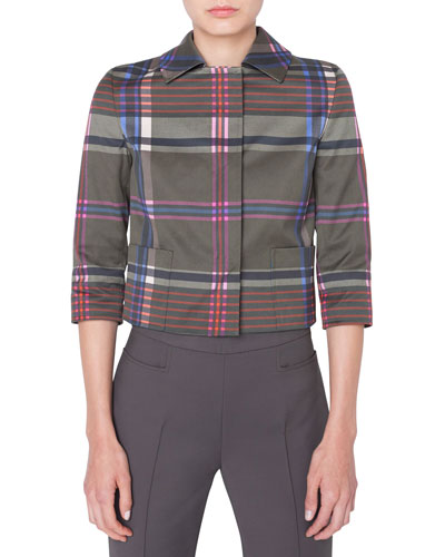 Signature Back-Pleat Plaid Jacket