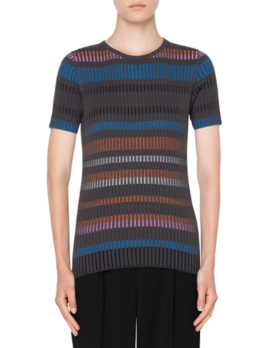 Short-Sleeve Fitted Striped Wool Sweater