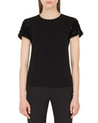 Akris punto 3-D Sequined-Sleeve Crewneck Tee and Matching