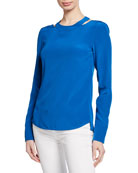 Akris punto Long-Sleeve Collarbone-Cutout Silk Top